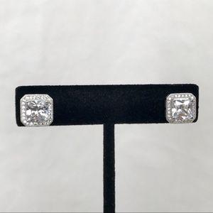 Princess Cut Halo Stud Earrings Swarovski 18K Gold